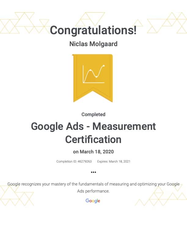 Foto af Google Ads Measurement certifikat