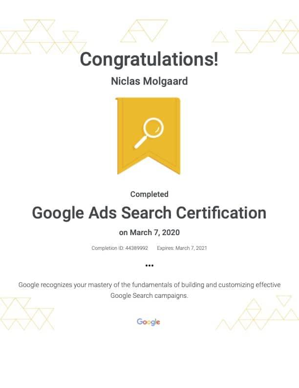 Google Ads search certifikat